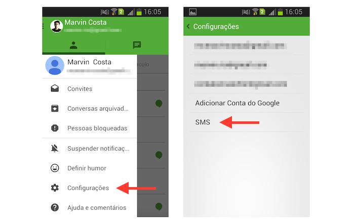 Acessando as configurações de SMS do Hangouts no Android (Foto: Reprodução/Marvin Costa)