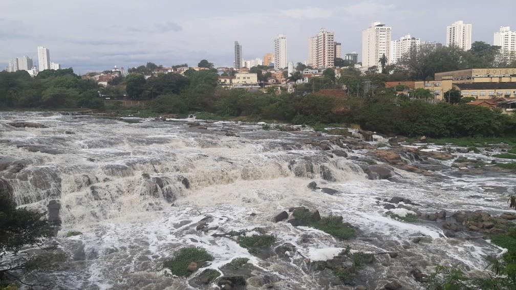 Rio Piracicaba em 18 de agosto de 2020, após chuva — Foto: Edijan Del Santo/EPTV