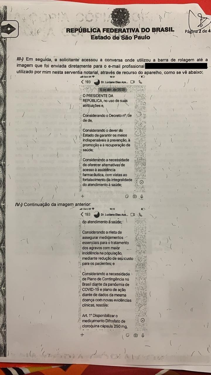 Segunda página da ata notorial entregue por Nise Yamaguchi à CPI da Covid no Senado
