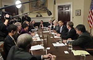 obama reunião economia 300 (Foto: Andre Winning/AP)