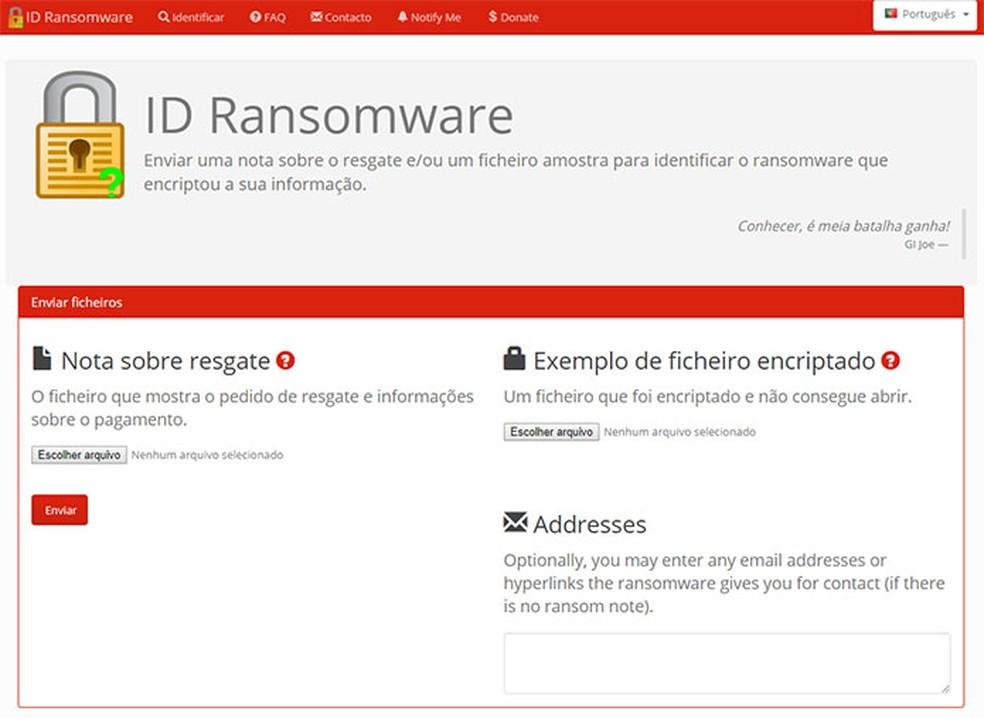 ID Ransomware ajuda vítimas a identificar vírus de resgate que atingiu o computador — Foto: Reprodução
