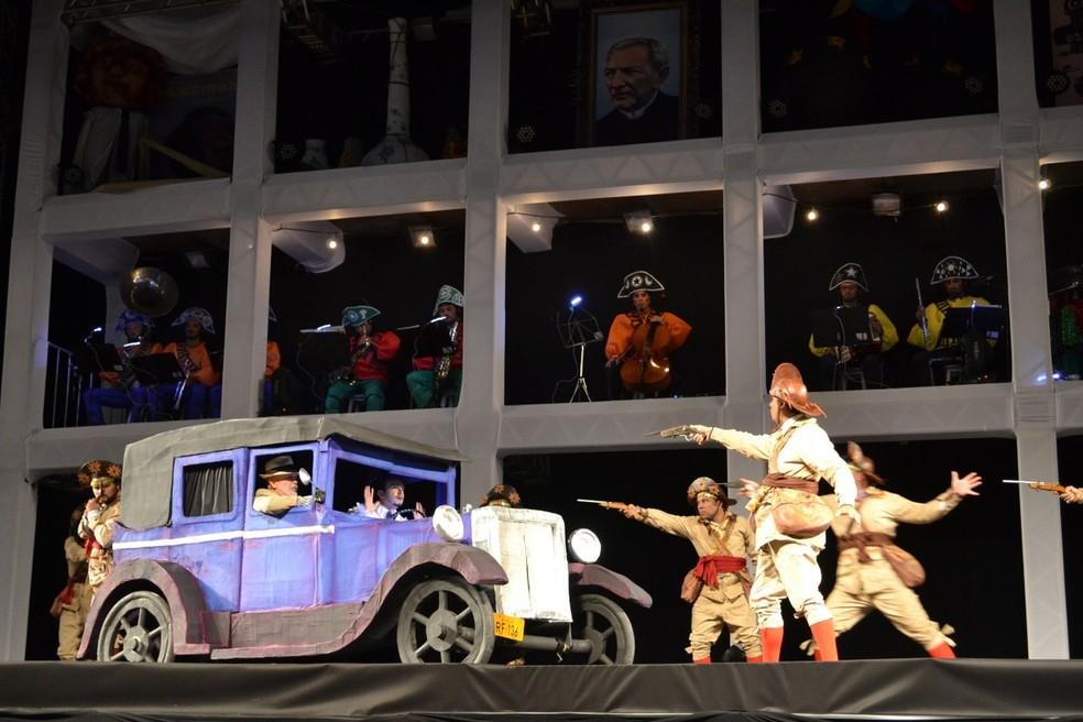 Espetáculo 'Chuva de Bala no País de Mossoró' conta a história de quando Mossoró expulsou Lampião e seu bando da cidade — Foto: Prefeitura Municipal de Mossoró