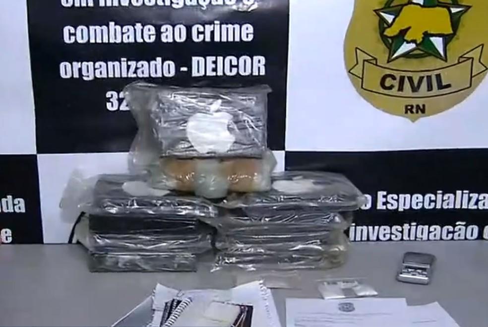 Droga foi apreendida com suspeitos em Natal. — Foto: Reprodução/Inter TV Cabugi