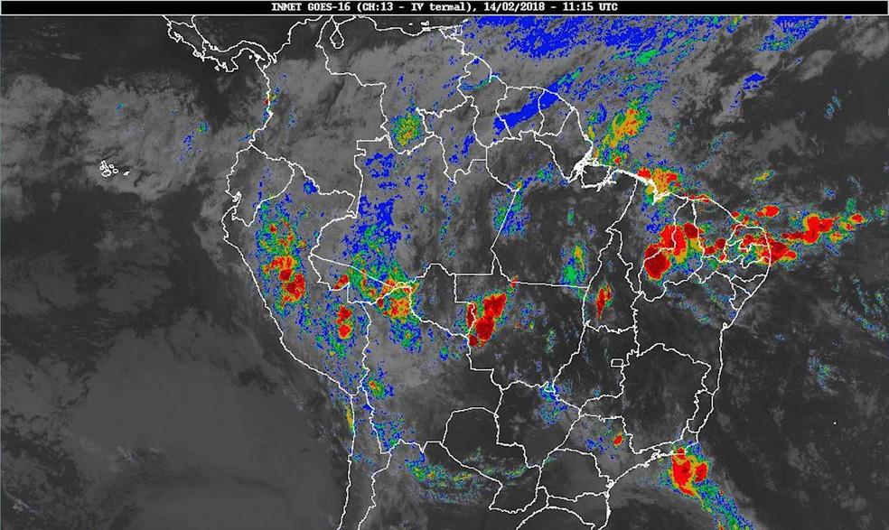 -  Mapa mostra situação do tempo no Piauí para mês de março com risco de enxurrada  Foto: Reprodução / TV Clube