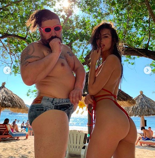 A atriz e modelo Emily Ratajkowski e o influencer The Fat Jew (Foto: Instagram)