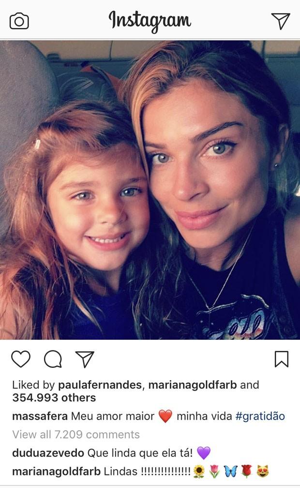 Mariana Goldfarb fez comentário elogiando Grazi Massafera e Sofia (Foto: Reprodução Instagram)