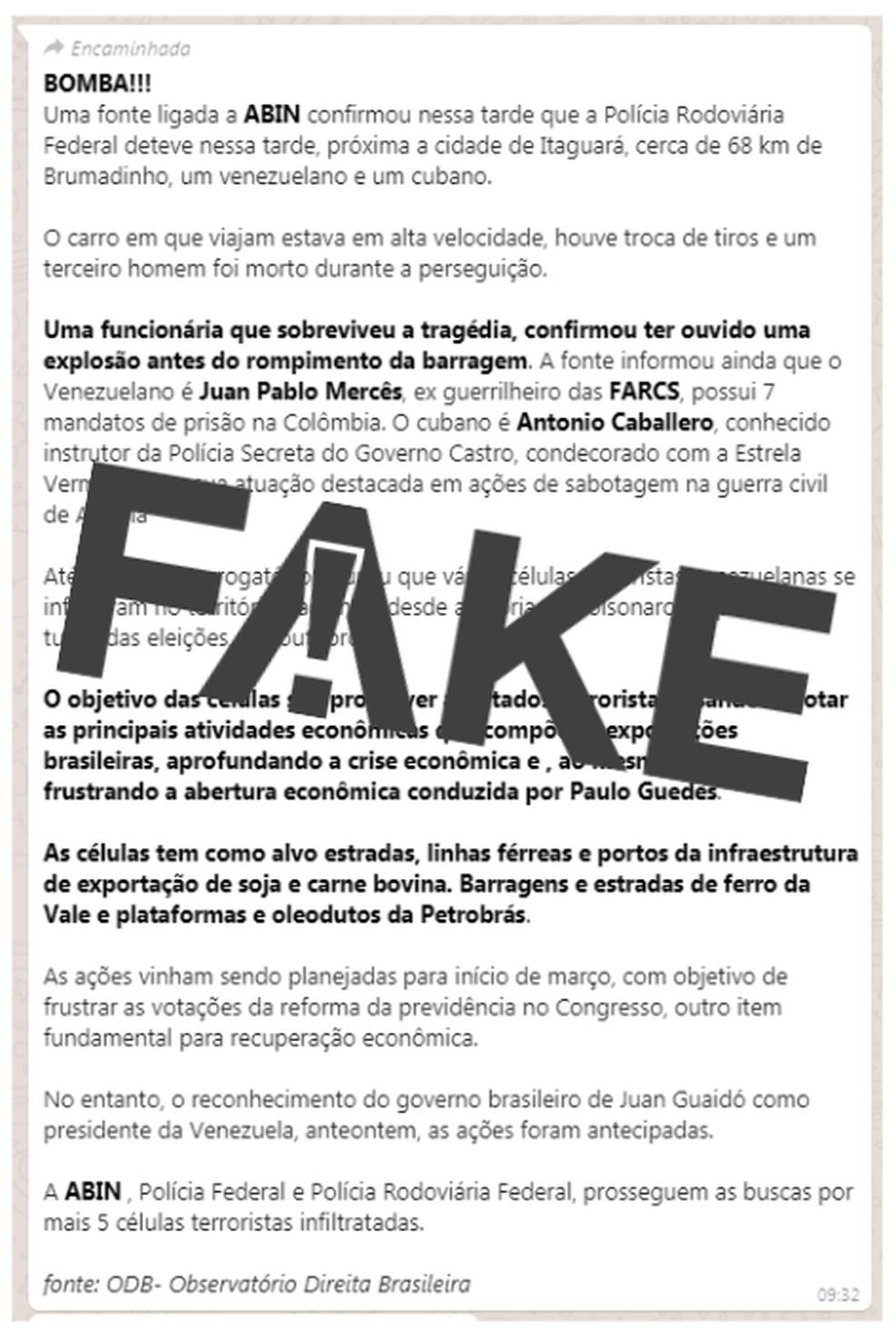 Mensagem falsa tem se alastrado na web — Foto: Reprodução