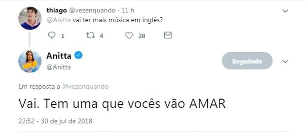 Anitta confirmou música em inglês para fã (Foto: Reprodução Twitter)