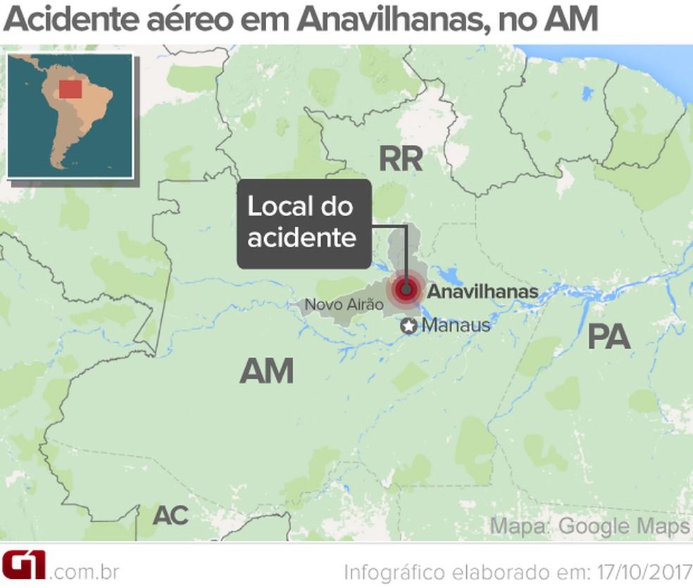 Acidente aéreo ocorreu em Anavilhanas (Foto: Arte/G1 )
