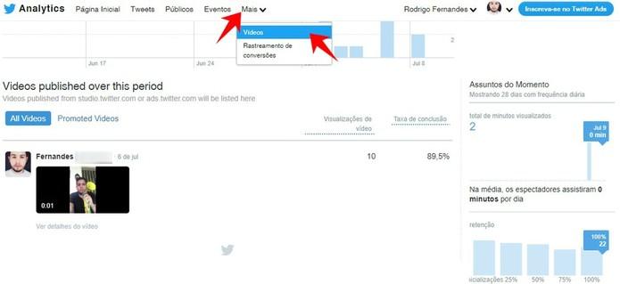Analytics também mostram estatísticas dos seus vídeos publicados no Twitter (Foto: Reprodução/Rodrigo Fernandes)