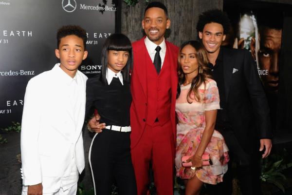 O ator Will Smith com os três filhos e com a atual esposa, a atriz Jada Pinkett Smith (Foto: Getty Images)