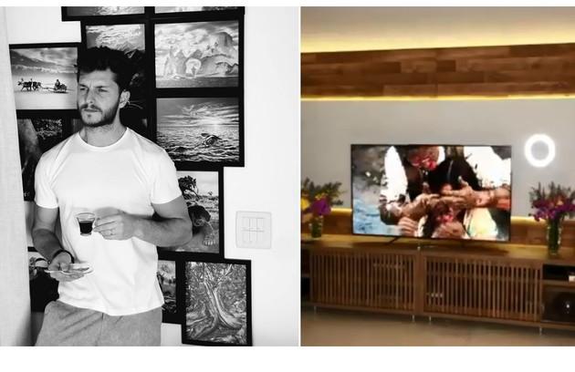 A sala de estar é decorada com fotos tiradas por Klebber Toledo  (Foto: Reprodução)