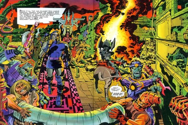 Ilustrações do quadrinista jack Kirby para a HQ dos Novos Deuses (Foto: Reprodução)