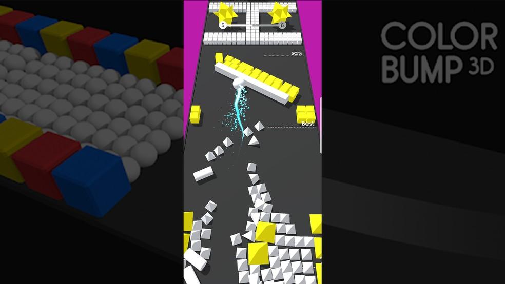 Também dá para adiantar ou recuar a bola com movimentos verticais no Color Bump 3D — Foto: Reprodução/Murilo Molina