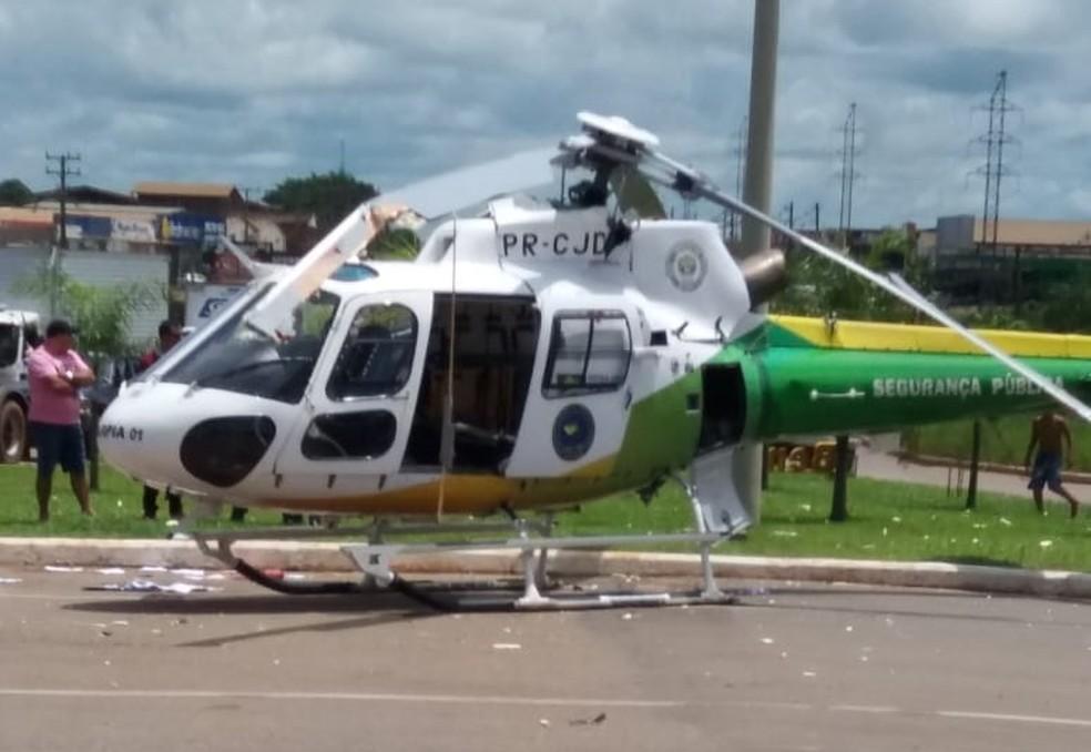 Helicóptero do Ciopaer bate em caminhão ao iniciar decolagem em Rio Branco — Foto: Luis Eduardo/Arquivo pessoal
