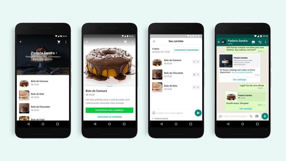Opção de catálogo e carrinho de compras no WhatsApp. — Foto: Divulgação/WhatsApp