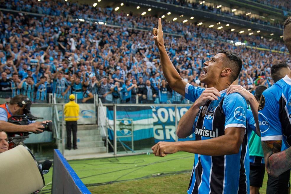 Cícero fez o gol na vitória sobre o Lanús, na Arena (Foto: Lucas Uebel/Divulgação Grêmio)
