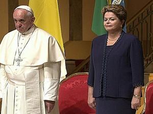 Papa Francisco e a presidente Dilma no Palácio Guanabara (Foto: Reprodução/GloboNews)