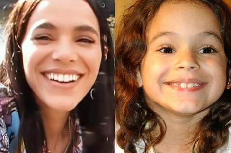 Bruna Marquezine e, à direita, Salete, personagem em 'Mulheres apaixonadas' (Foto: Reprodução/Youtube e Globo)