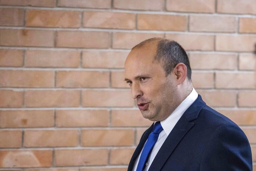 Naftali Bennett, líder do partido Lamina, no Parlamento de Israel em Jerusalém em 30 de maio — Foto: Yonatan Sindel/Pool via AP