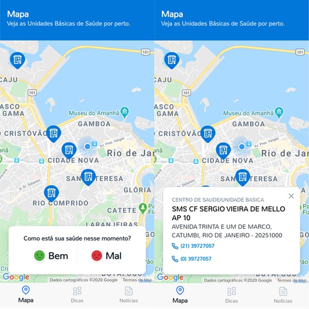 Mapa exibe unidades de saúde próximas do usuário — Foto: Reprodução/TechTudo