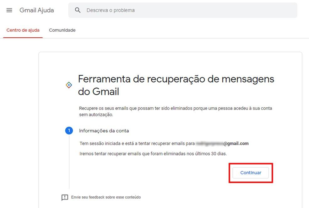 Google pode recuperar e-mails apagados no Gmail — Foto: Reprodução/Rodrigo Fernandes