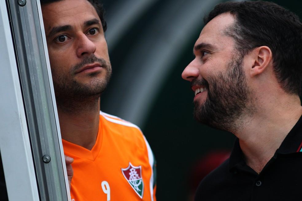 Fred e Mário no Fluminense em 2015 — Foto: Nelson Perez / FFC