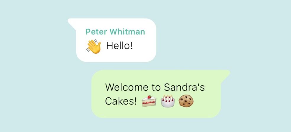 Exemplo de mensagem automática no WhatsApp Business —