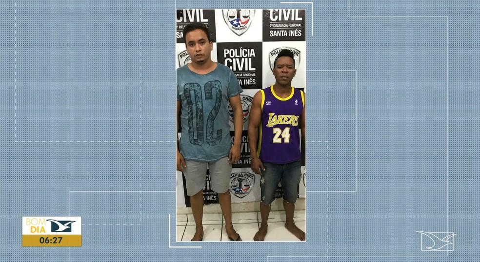 Dois dos três suspeitos de participarem de um estupro coletivo contra uma mulher foram presos e encaminhados para a Delegacia Regional de Santa Inês. — Foto: Reprodução/ TV Mirante