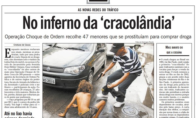 Página da matéria sobre a operação da Seop, no jornal de 9 de abril de 2009