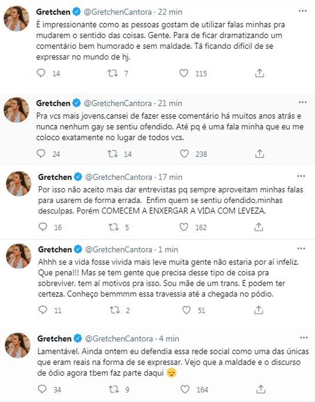 Gretchen lamenta mensagens de ódio no Twitter (Foto: Reprodução / Twitter)
