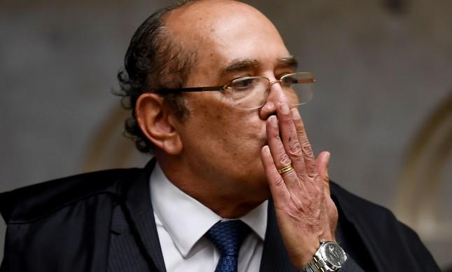 O ministro Gilmar Mendes durante votação sobre habeas corpus do ex-presidente Lula