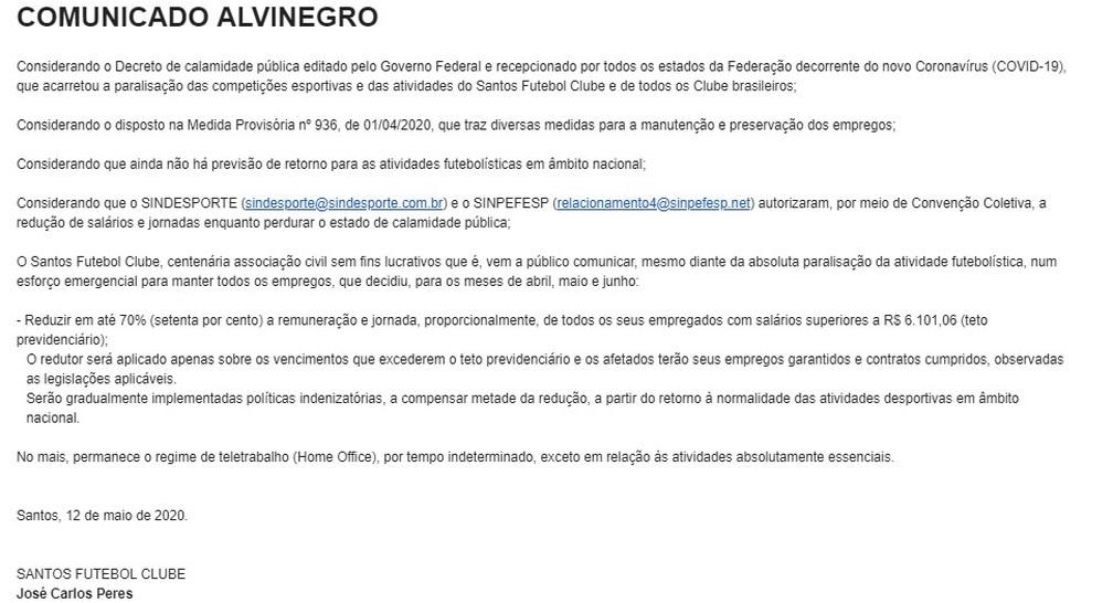 Santos dispara e-mail informando redução de 70% nos salários — Foto: Reprodução