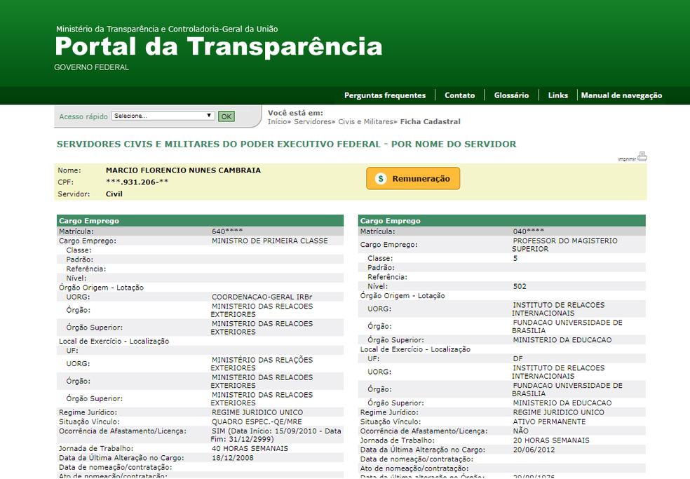 Registro de Márcio Florêncio Nunes Cambraia nas duas funções (Foto: Portal da Transparência)