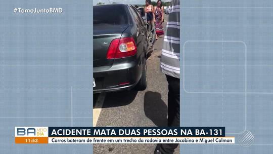 Duas pessoas morrem após batida frontal entre dois carros na Bahia; veículos ficaram destruídos