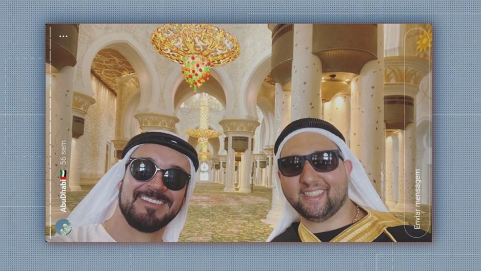 Gustavo Pontes Galvanho e Tiago Achiles foram para Dubai, depois de lesar investidores — Foto: Reprodução/TV Globo