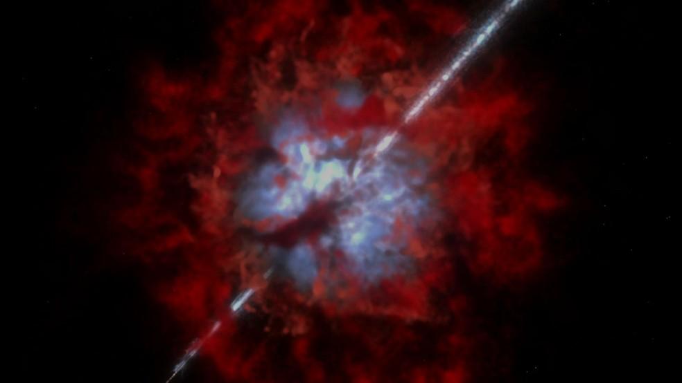 É o momento em que a estrela moribunda explode e se torna um buraco negro (Foto: Reprodução/BBC)