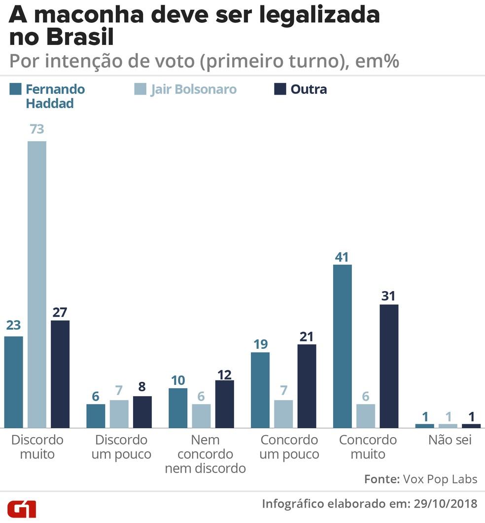 Legalização da maconha no Brasil - por intenção do voto — Foto: G1