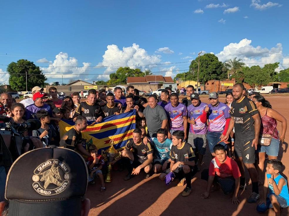 Brasil Global faturou o título da região norte na Liga Terrão MS — Foto: Alexandre Cabral/ TV Morena