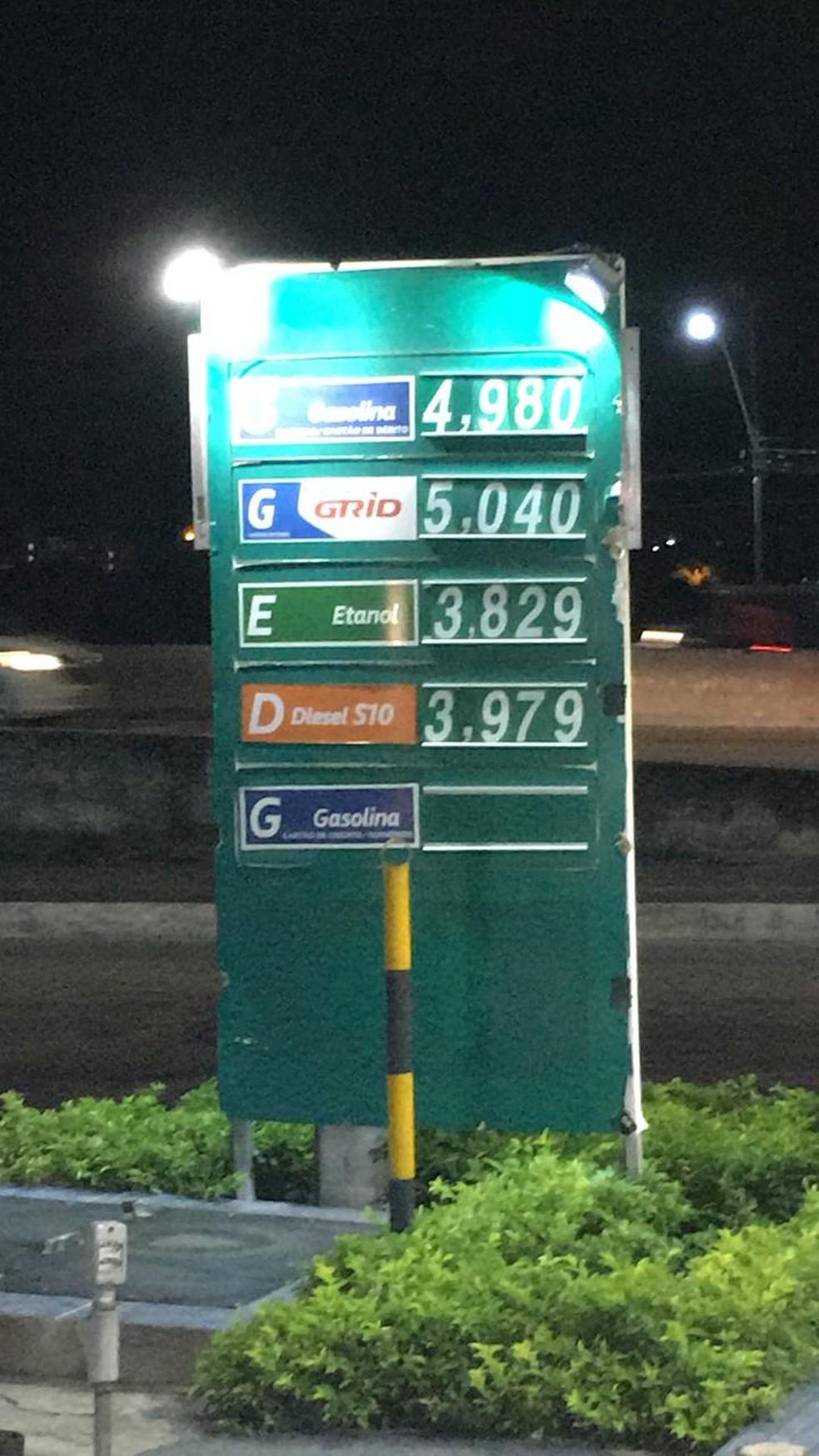 Preço da gasolina sobe e aditivada passa dos R$ 5 em Natal — Foto: Redes Sociais