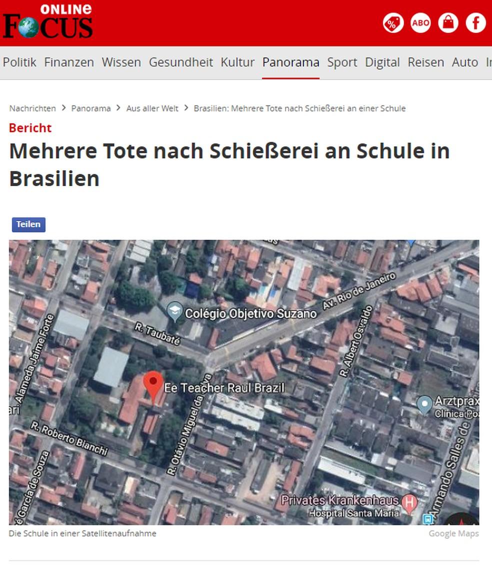 Mortes em escola de Suzano são notícia na revista alemã 'Focus' — Foto: Reprodução/Focus