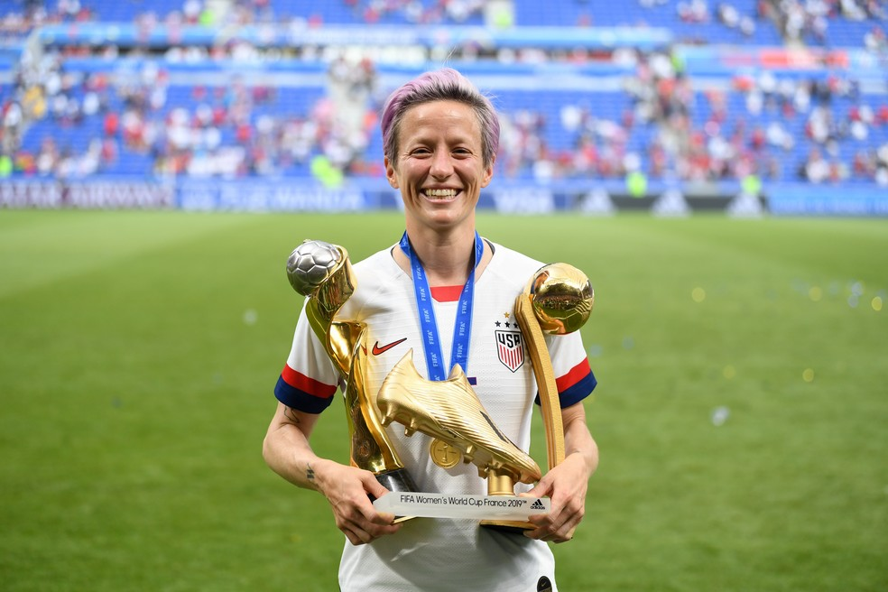 Megan Rapinoe, após conquistar a Copa do Mundo pelos Estados Unidos — Foto: Getty Images