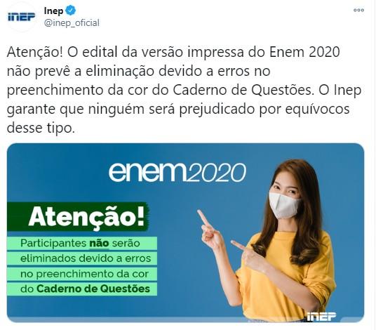 Enem 2020: quem assinalou a cor errada no cartão-resposta não será prejudicado, diz Inep