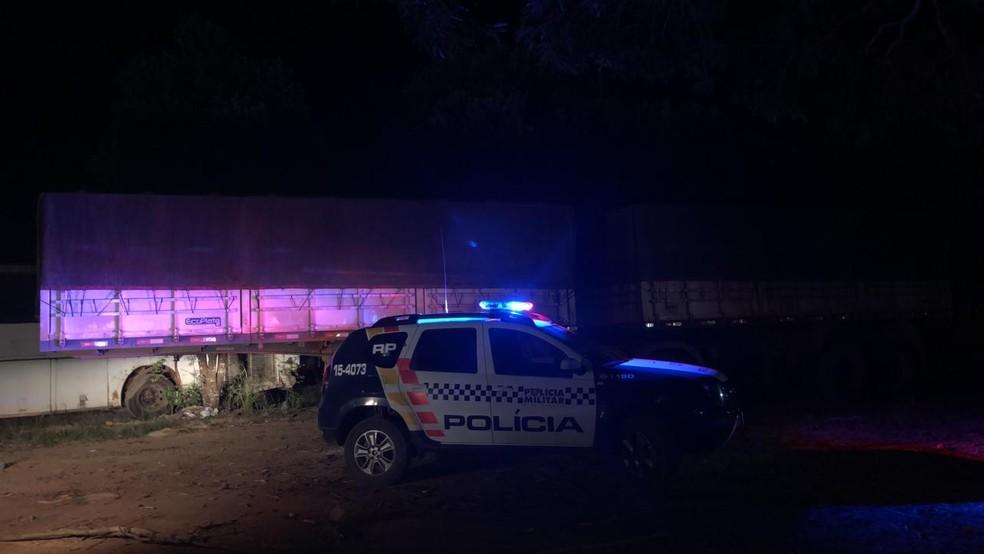 Carreta foi recuperada pela PM em Guarantã do Norte — Foto: Polícia Militar de Mato Grosso/Divulgação