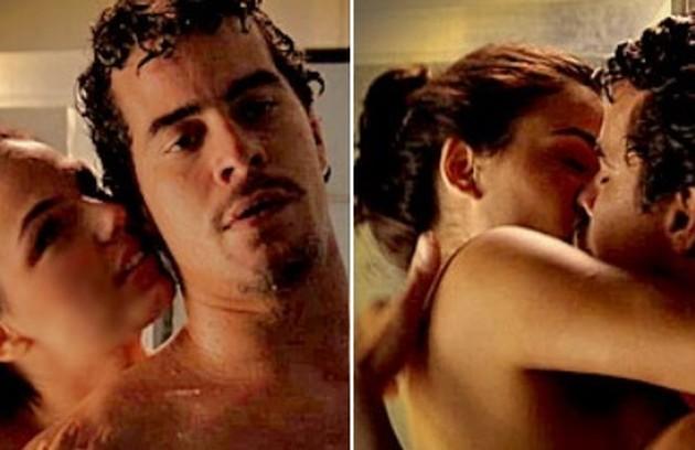Thiago Martins (Leandro) elege cenas em que Suelen (Isis Valverde) invade seu banho (Foto: Reprodução/TV Globo)