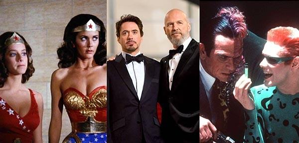 Debra Winger e Lynda Carter em Mulher-Maravilha, Robert Downey Jr. e Jeff Bridges em Homem de Ferro, Tommy Lee Jones e Jim Carey em Batman Eternamente (Foto: Divulgação)