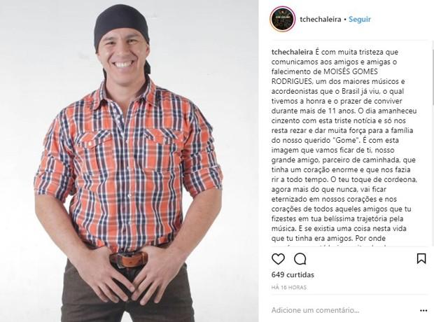 Grupo Tchê Chaleira lamenta morte de Moisés Gomes Rodrigues, conhecido como Gome (Foto: Reprodução/Instagram)