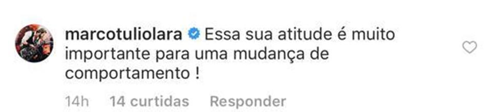 O músico mineiro Marco Túlio Lara elogia comportamento de Melissa — Foto: Reprodução/Redes Sociais