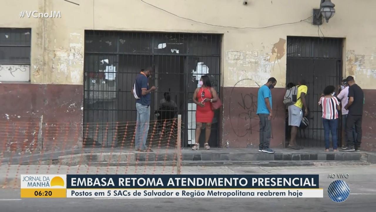 Embasa retoma atendimento presencial em 5 postos do SAC de Salvador e região metropolitana