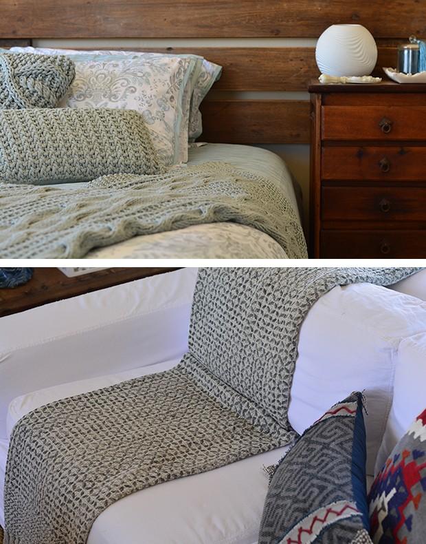 Mantas usadas sobre a cama e para renovar o visual do sofá (Foto: Divulgação)